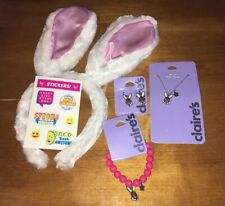 Claire's Easter Bunny Necklace Bracelet Earrings Headband Justice Stickers Lot