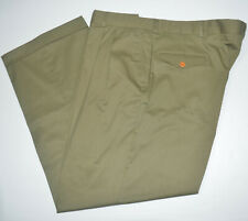 ORVIS Stretch Cotton Blend Light Weight Olive Pleated Poplin Chino Pants 44 x 30