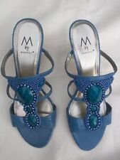 M by Marinelli Teal Beads Rhinestones Blue Snake Print leather heels Mules Sz 7