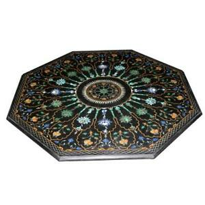 "42"" Marble Center Table Top Pietra dura Art Handmade Inlay Floral Work"