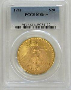 1924 GOLD $20 SAINT GAUDENS DOUBLE EAGLE PCGS MINT STATE 64+ PLUS