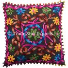 "Vintage Suzani Cushion Cover 16X16"" Embroidery Pillow Cases Square Sofa Cushions"