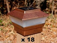 18 Solar Fence Cap Post Lights Copper Color - 4x4 Wood Posts Only - PL244