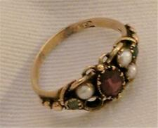 Antique Ring 14 kt Gold Emeralds Pearls Garnet Missing a Pearl Victorian Era 6,5