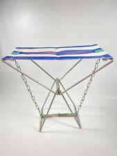 Vintage Folding Camp Chair - Plastic webbing BLUE over metal
