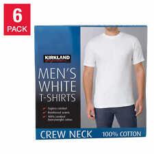 Kirkland Men's 6-pack White 100% Cotton Crew Neck T-shirt S M L XL XXL 3XL