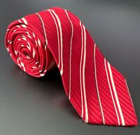 Giorgio Armani - Mens Silk Tie - Made in Italy - Red Striped Pre Owned