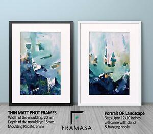White & Black Thin Matt Photo Picture Frames with White Ivory or Black Mounts
