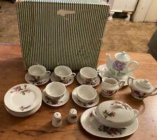 Vintage Japan Moss Rose Child's China Tea Set 25 pcs. Crane Mark