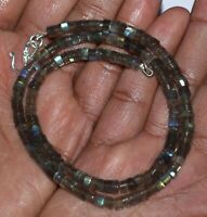 "Blue Labradorite 4.5-5mm Tire Beads 925 Sterling Silver 16"" Strand Necklace WQ24"