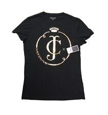dbb56d61d Juicy Couture Women's T-shirt Logo Crown Monogram Gold Print Black Cotton  Large
