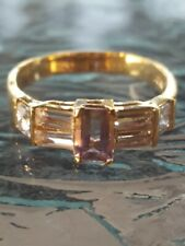 Ametrine And White Sapphire Ring 10kt Solid Yellow Gold