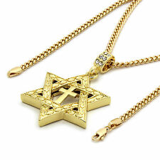 "Mens 14k Gold Plated Star of David Cross Pendant 30"" inches Cuban Necklace Chain"