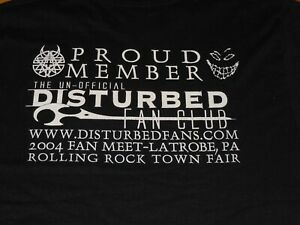 DISTURBED FAN CLUB SHIRT MENS SMALL BLACK