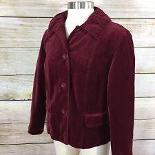 Chico's Velvet Jacket Size 1 (M 8) Blazer Burgundy Red Button Front Career