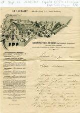 Dépt 04 - Le Lautaret - Superbe Entête Grand Hôtel Pension des Glaciers de 1905