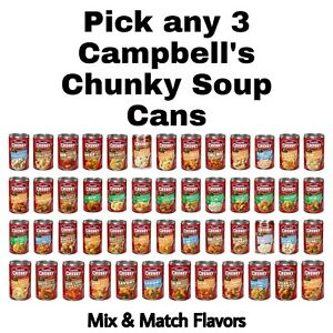 Campbell's Chunky Soup Cans Pick any 3 Cans Mix & Match Flavors