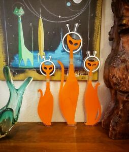 ORANGE Atomic Space Cats Wall Art Mid Century Laser Sculpture Mod Lovers
