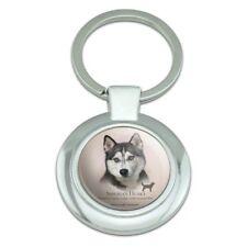 Siberian Husky Dog Breed Classy Round Chrome Plated Metal Keychain
