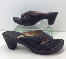 "Born Black Leather Double Buckle Slip On Open Toe Sandals 3"" Heel Womens Sz 10 M"