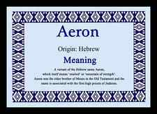 Aeron Personalised Name Meaning Placemat