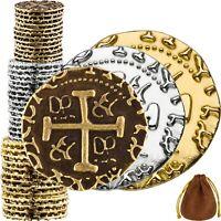 Pirate Coins -36 Gold, Silver, Bronze Metal Gold Coins, Fake Fantasy Coins,