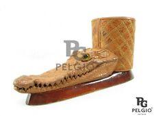 PELGIO Genuine Crocodile Skin Head Stuffed Taxidermy Wooden Pen Holder Brown