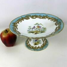 19th C English Porcelain Compote Cake Stand Hand Painted Baby Blue Bird Gold