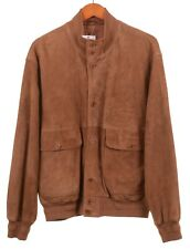 Paul & Shark Yachting Brown Soft Suede Leather Blouson Bomber Jacket L