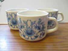 White and Blue Floral Cups by Sado Internacional, Portugal  Set of Three (3)