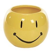 Yellow Smiley Face Ceramic Planter