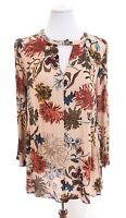 En Creme Colorful Floral Print Keyhole Tunic Top Blouse Tropical Womens Sz Small