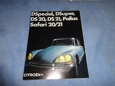 1970 Citroen DS20 DS21 Pallas Safari Dspecial  factory  sales brochure xlnt