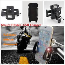 12V New Waterproof Motorcycle Bike Cell Phone Handlebar Mount Holder+USB Charger