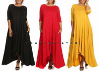 Plus Size Hi Low Jersey Swing Maxi Dress Tunic with Side Pockets