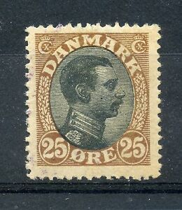 Weeda Denmark 107 VF MLH 1920 25o brown & black definitive, marks on face CV $75