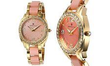NEW Bernoulli 9404 Daeva Women's Swarovski Crystal Bezel Light Pink/Gold WATCH