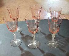 Pink Wine Stemmed Glasses Set of 6