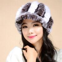 Women Genuine Rex Rabbit Fur Hap Cap Winter Vintage ski Knitted Fur Hat Cossack
