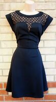 NEW LOOK BLACK LACE SHEER SHORT SLEEVE CURVY FIT A LINE SKATER PARTY DRESS 10 S