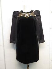 Gucci 2007 Velvet Beaded Jewel Embellished Satin Sleeve Shift Dress Sz 40
