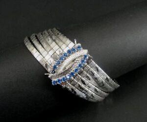 Blue Rhinestone Clasp 6 Strand Chain with Texture Design 800 Silver Bracelet