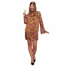 HIPPIE GROOVY 60'S HIPPY CHICK DRESS UP OUTFIT ladies womens fancy dress costume