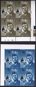 Malta 1966 President Kennedy Commemoration SG371 & SG372 4-stamp Blocks