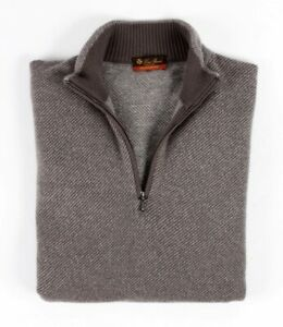 $950 LORO PIANA 100% CASHMERE Roadster Pull Sweater - Gray, Taupe, Brown - 52 L