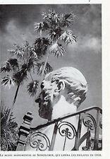 BUSTE MONUMENTAL DE SCHOELCHER QUI LIBERA LES ECLAVES IMAGE 1948 OLD PRINT