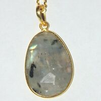 """Faceted labradorite w/ inclusions gold over sterling silver pendant necklace 16"""""""
