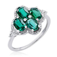 10k White Gold Emerald, White Topaz, and Diamond Accent Ring