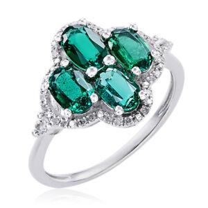 10k White Gold Emerald, White Topaz, and Diamond Accent Ring