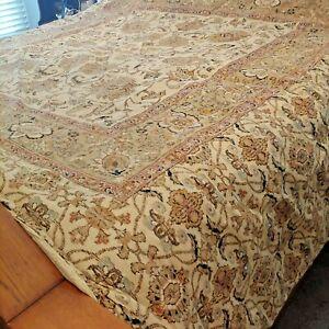 Ralph Lauren Northern Cape Tapestry Rug Tan KING Comforter EUC